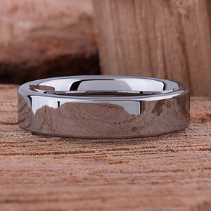 Tungsten Carbide Ring Style Wedding Band 6mm Wide Flat High Polished Finish - TCR060