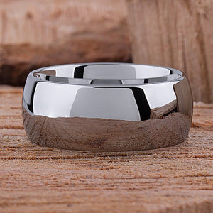 Tungsten Carbide Ring Style Wedding Band 10mm Wide Rounded High Polished Comfort Fit - TCR048