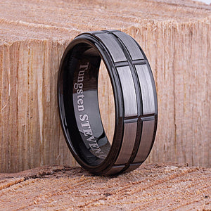 Tungsten Mens Wedding Band or Mans Engagement Ring 8mm Black Sides Brushed Center, Gift For Boyfriend, Unique Wedding Band, Black Mens Ring- TCR081