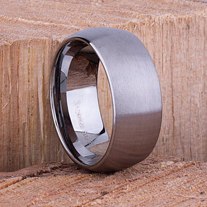 Tungsten Carbide Ring Style Wedding Band 10mm Wide Rounded Satin Finish Comfort Fit - TCR046
