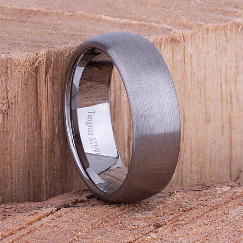 Tungsten Mens Wedding Band or Mens Engagement Band 8mm Brushed, Promise Ring for Him, Gift for Boyfriend, Mans Wedding Ring, Tungsten Ring - TCR054
