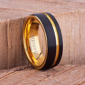 Tungsten Mens Wedding Ring 8mm with Yellow Gold and Black Brushed Surface, Mens Engagement Ring, Unique Wedding Band, Promise Ring For Him - TCR094