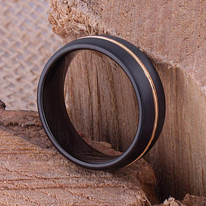Tungsten Mens Wedding Band 8mm with Black and Rose Gold Plating for Mans Engagement Ring, Promise Ring or Gift For Boyfriend, Tungsten Ring - TCR089