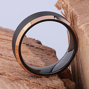 Tungsten Mens Engagement Ring or Mens Wedding Band 8mm Rose Gold and Brushed Black, Gift For Boyfriend, Unique Wedding Ring, Wedding Band - TCR079
