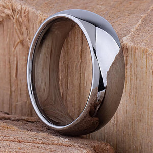 8mm Tungsten Mens Traditional Wedding Ring | Mans Engagement Band | 8mm Wide Rounded Dome High Polished Finish Comfort Fit | Popular- TCR010