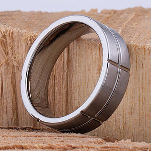 8mm Tungsten Mens Wedding Ring, Mans Engagement Band, 8mm Wide Rectangle Sections Flat Satin Finish Comfort Fit, Man Anniversary Gift -TCR037