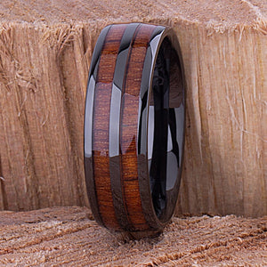 Ceramic Wedding Band with Hawaiian Koa Wood 8mm - CER088