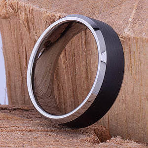 Tungsten Mens Wedding Band or Mens Engagement Ring 8mm Brushed Black with Bevel Edges, Promise Ring, Gift for Men, Anniversary Gift for Him - TCR070