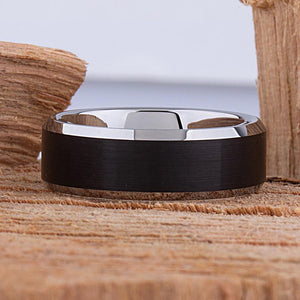 Tungsten Ring with Black Plating 8mm - TCR070 traditional black men's wedding or engagement band or anniversary ring