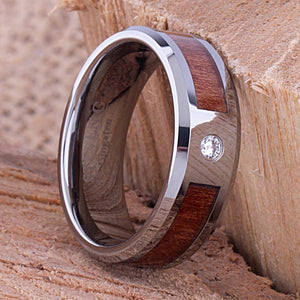 Tungsten Ring with Koa Wood & 3mm CZ - 8mm Wide - TCR084 cubic and wood engagement or wedding ring or promise band for boyfriend