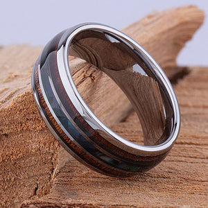 Tungsten Mens Wedding Band 8mm with Koa Wood and Abalone Shell, Mens Engagement Ring, Mens Promise Ring, Gift For Him, Mens Tungsten Ring - TCR096