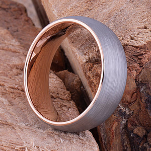 Tungsten Ring with Rose Gold 8mm - TCR069 traditional men's engagement or wedding ring or promise band for him