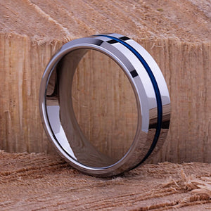 Tungsten Mens Wedding Band or Mens Engagement Band 8mm with Blue Plated Center, Gift for Boyfriend or Husband, Tungsten Ring, Promise Ring - TCR072