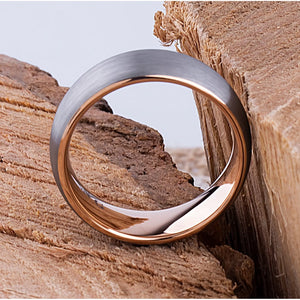 Tungsten Mens Wedding Band or Mans Engagement Ring 8mm with Rose Gold Interior & Satin Finish, Gift For Boyfriend or Husband, Promise Ring - TCR069
