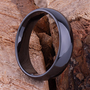 6mm Black Ceramic Traditional Ring Style Wedding Engagement Band 6mm Wide Rounded Dome High Polish Finish Comfort Fit Popular Gift - CER016