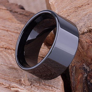 11mm Black Hi-Tech Ceramic Ring Style Wedding Engagement Band 11mm Wide Flat Tube Cut Style High Polish Finish Comfort Fit Best Gift- CER076