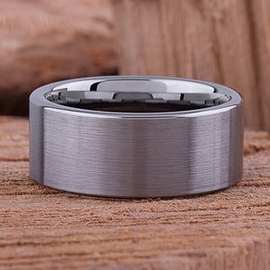 Flat Tungsten Wedding Ring 10mm - TCR063 traditional men's wedding or engagement ring or promise band for him