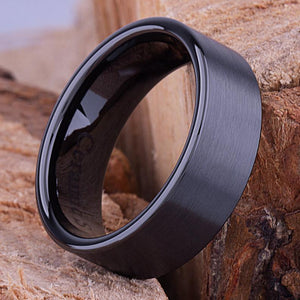 8mm Black Hi-Tech Ceramic Ring Style Wedding Engagement Band 8mm Wide Flat Popular Style Brush Finish Comfort Fit Durable - CER037