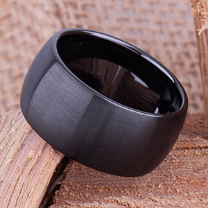 12mm Black Ceramic Traditional Ring Style Wedding Engagement Band 12mm Wide Rounded Dome Satin Finish Comfort Fit Popular Style - CER038