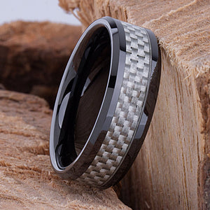 Ceramic Band Style Wedding Ring 8mm Wide Flat with White Carbon Fiber Inlay Comfort Fit - CER090