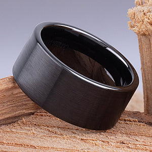 11mm Black Hi-Tech Ceramic Ring Style Wedding Engagement Band 11mm Wide Flat Tube Cut Style Light Satin Finish Comfort Fit | Popular -CER080