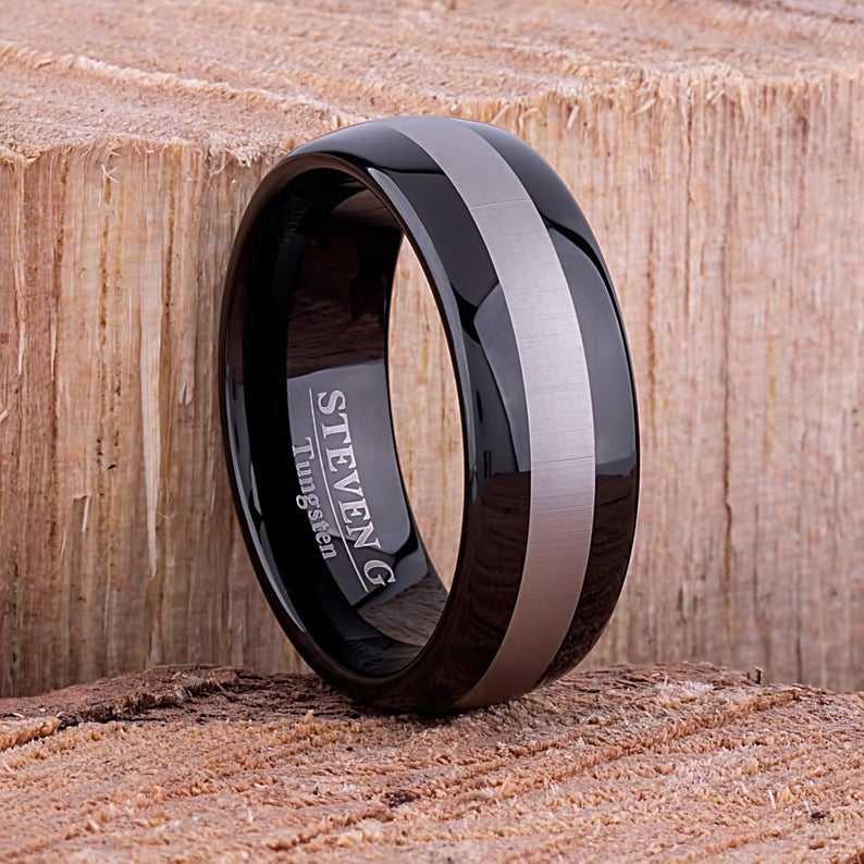 Tungsten Ring with Black Plating 8mm - TCR087 black men's wedding or engagement band or promise ring for boyfriend