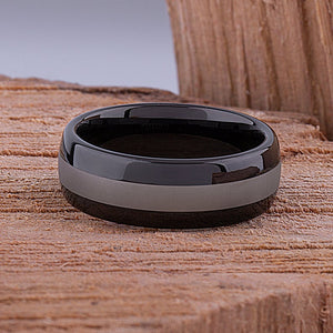 Tungsten Mens Wedding Band or Mens Engagement Ring 8mm with Black Sides and Satin Center, Mens Promise Ring or Gift for Boyfriend, Mens Ring - TCR087
