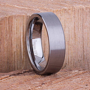 Tungsten Mens Wedding Band or Mans Tungsten Engagement Ring 7mm Brushed, Mens Anniversary Gift, Promise Ring for Him, Mans Tungsten Ring - TCR056