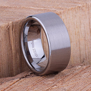 Tungsten Mens Wedding Band or Mens Engagement Ring 10mm Flat Brushed, Mens Promise Ring, Gift for Boyfriend, Tungsten Ring, Wedding Band Men - TCR063