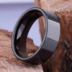 8mm Black Hi-Tech Ceramic Ring Style Wedding Engagement Band 8mm Wide Flat Tube Cut Style High Polish Finish Comfort Fit Popular Gift - CER043