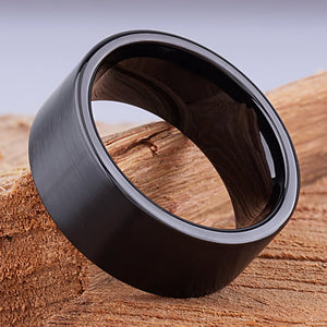 10mm Black Hi-Tech Ceramic Ring Style Wedding Engagement Band 10mm Wide Flat Tube Cut Style Brush Finish Comfort Fit Durable - CER050