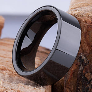 9mm Black Ceramic Ring Traditional Style Wedding Engagement Band 9mm Wide Smooth Flat High Polish Finish Comfort Fit Durable - CER058