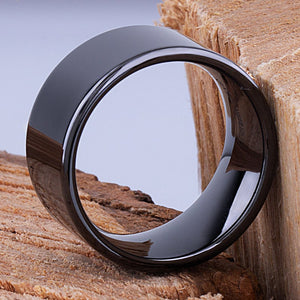 12mm Black Hi-Tech Ceramic Ring Style Wedding Engagement Band 12mm Wide Flat Tube Cut Style High Polish Finish Comfort Fit Popular - CER067