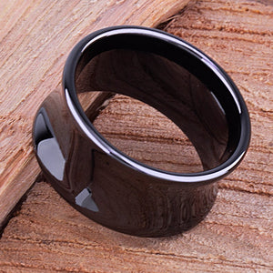 12mm Black Ceramic Unique Ring Style Wedding Engagement Band 12mm Wide Concave Shaped High Polish Finish Comfort Fit Popular Gift - CER072