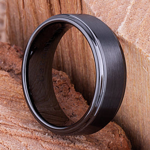 8mm Black Ceramic Ring Traditional Style Wedding Engagement Band 8mm with Flat Brushed Center & Lower Polished Sides Comfort Fit - CER052