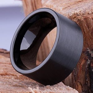 12mm Black Hi-Tech Ceramic Ring Style Wedding Engagement Band 12mm Wide Flat Tube Cut Style Light Satin Finish Comfort Fit - CER078