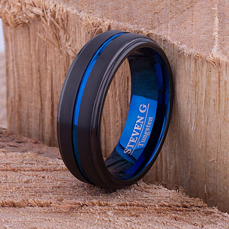 Black with Blue Tungsten Band 8mm - TCR088 unique black and blue men's engagement or wedding ring or anniversary band