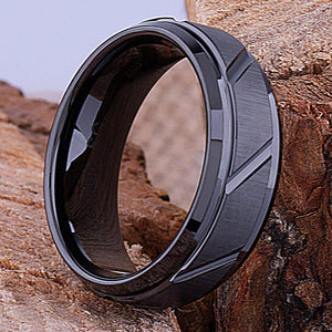 8mm Black Ceramic Ring Style Wedding Engagement Band 8mm Wide Diagonal Rectangle Design with Brushed Surface Comfort Fit Durable - CER004