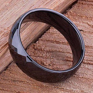 8mm Black Ceramic Ring Style Wedding Engagement Band 8mm Wide with Diamond & Triangle Shapes High Polish Finish Durable Comfort Fit - CER035