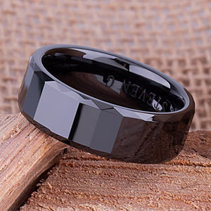 8mm Black Ceramic Ring Style Wedding Engagement Band 8mm Wide Rectangle Shapes Step Cut Center High Polish Finish Comfort Fit - CER053