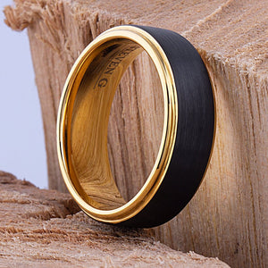 Black and Yellow Tungsten Band 8mm - TCR085 black and yellow gold men's wedding or engagement band or promise ring