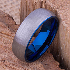 Tungsten Mens Wedding Band or Mens Engagement Band 8mm Blue Inside with Brushed Exterior, Gift for Boyfriend, Band for Him, Tungsten Ring - TCR071