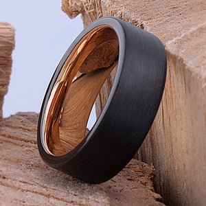Black and Rose Gold Tungsten Ring 8mm - TCR083 black and rose gold men's wedding or engagement band or promise ring