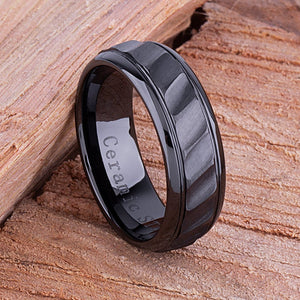 8mm Black Ceramic Ring Style Wedding Engagement Band 8mm Wide Angled Curved Brushed Center Sections Smooth Sides Comfort Fit - CER005