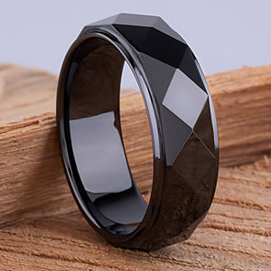 8mm Black Ceramic Ring Style Wedding Engagement Band 8mm Wide with Diamond & Triangle Shapes High Polish Finish Durable Comfort Fit - CER059