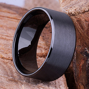 10mm Black Hi-Tech Ceramic Ring Style Wedding Engagement Band 10mm Wide Flat Tube Cut Style Fine Satin Finish Flat Inside Popular - CER074