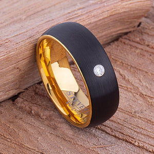 Tungsten Mens Wedding Band 8mm with Yellow and Black Plating Brushed Finish and 3mm CZ, Mens Engagement Ring, Black Wedding Ring. Mens Ring  - TCR090