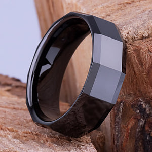 8mm Black Ceramic Ring Style Wedding Engagement Band 8mm Wide Rectangle Shaped Center & Sides High Polish Finish Comfort Fit - CER056