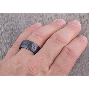 10mm Black Ceramic Ring Style Wedding Engagement Band 10mm Wide Domed Satin Finish with Two Shallow Center Grooves Comfort Fit - CER068