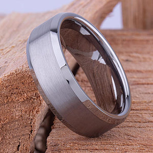Tungsten Mens Engagement Ring, Mans Wedding Band 8mm Promise Ring for Him, Unique Wedding Band, Mens Anniversary Husband Gift, Tungsten Ring - TCR030